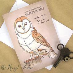 Steampunk Notecard  Clockwork Barn Owl  by HazelFisherCreations, £2.40
