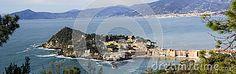Aerial view of Sestri Levante with its characteristic peninsula.il mio nuovo lavoro su dreamstime