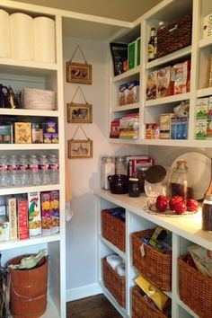 Traditional Pantry with High ceiling, Built-in bookshelf, Pottery Barn Jacquelyne Baskets, Hardwood floors