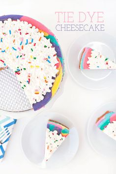 After a pretty emotional weekend, I thought I would kick off this week with  something fun, bright and full of sprinkles. This Tie Dye Cheesecake  definitely fits into all of those categories...