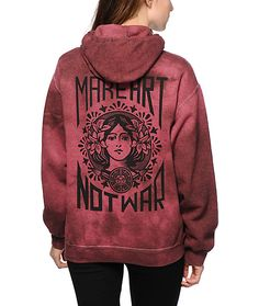 """A thick and soft fleece material in a burgundy tie dye wash is finished with an Obey """"Make Art Not War"""" graphic at the chest and back for a look that inspires. size medium i think"""