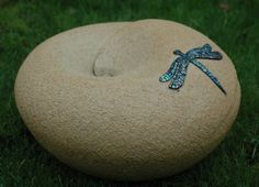 Mosaic+Dragonfly+Sculpture | Ceramic Orb, with mosaic dragonfly detail.