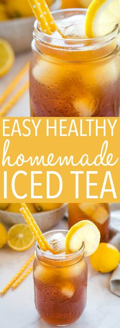 This Healthy Homemade Iced Tea is a refreshing drink for summer! Only 3 ingredients, NO refined sugar, NO artificial sweeteners - under 50 calories! 100 Calories, Healthy Smoothies, Healthy Drinks, Healthy Desserts, Healthy Detox, Healthy Recipes, Refreshing Drinks, Summer Drinks, Summer Drink Recipes