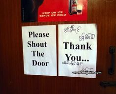 Let's shout ath the door