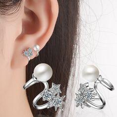 Aliexpress.com : Buy 2017 New Fashion 925 Sterling Silver Earrings for Women Classic Ear Cuff Piercing Earring Studs Wedding Pearl Jewelry from Reliable Underwear suppliers on ModaOne Jewellery Store