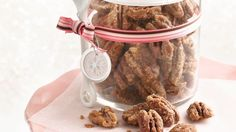 Brown sugar, butter and maple syrup sweetly coat pecans that are perfect for the candy dish or for gift giving.