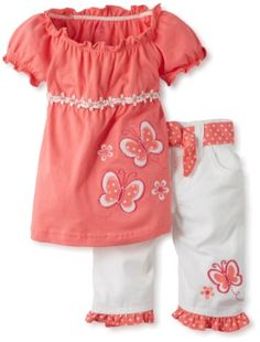 Young Hearts Baby-Girls Infant 2 Piece Butterfly Twill Capri Set $13.44