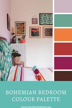 Bohemian bedroom makeover - vibrant colour palette - lilac, turquoise, orange colours. Click to see the full makeover. Bedroom Colour Palette, Cool Color Palette, Design Palette, Bedroom Colors, Bedroom Ideas, Colour Pallete, Color Palettes, Color Schemes, Bohemian Interior Design