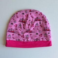 8f0bbd0f45bf Bonnet enfant en jersey oeko-tex motifs chouettes hiboux, extensible,  doublé -