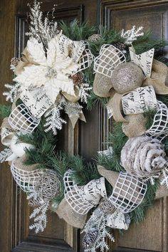 Christmas wreath, Burlap wreath, poinsettia wreath, Shabby Chic wreath I already have this ribbon Poinsettia Wreath, Holiday Wreaths, Holiday Crafts, Winter Wreaths, Burlap Christmas Wreaths, Cheap Holiday, Spring Wreaths, Summer Wreath, Shabby Chic Christmas
