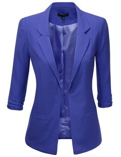 Womens Flat Tuxedo 3/4 Sleeve Open Blazer #doublju