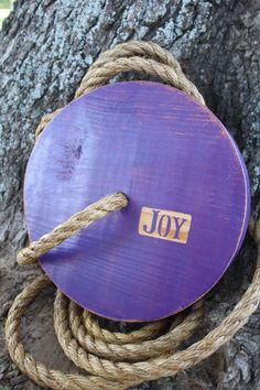 "Round Tree Swing - ""Joy"" Inspirational. $55.00, via Etsy."