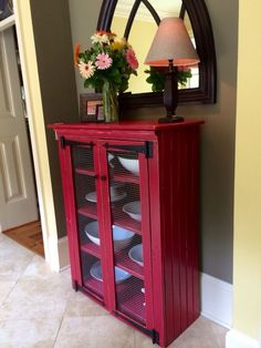Red Pie Safe Cabinet, Jelly Cabinet, Kitchen Storage, Pantry, Rustic Cupboard #Handmade