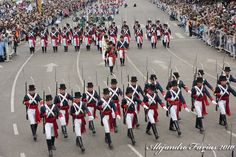 The Argentine Army Patricians' Regiment (Regimiento de Patricios) marching down Avenida Roque Sáenz Peña in Buenos Aires at the 2010 Argentine Bicentennial National Day Parade.