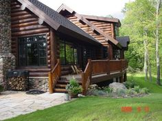 this porch/deck would be perfect for lake side at S.L. cabin; note roof placement.....