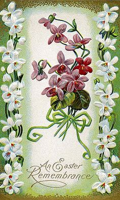 This vintage Easter postcard from the early with beautiful Dogwood Violets. Easter Greeting Cards, Vintage Greeting Cards, Vintage Postcards, Vintage Images, Vintage Easter, Vintage Holiday, Fete Pascal, Etiquette Vintage, Decoupage