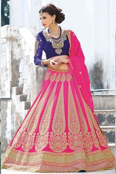Bridal Lehenga Choli Collection presented by Andaaz Fashion like Pink Chiffon Velvet Lehenga Choli with Pink Dupatta. Embellished with Embroidered, Patch, Resham, Stone, Zari, V Neck Blouse, Short Sleeve. This is perfect for Wedding, Bridal, Ceremonial.  http://www.andaazfashion.us/womens/lehenga-choli/occasion/party-wear-lehenga-choli