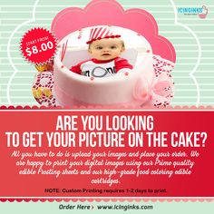 If you are looking for getting your/your #family member's #picture on the #cake, then you can contact us at Icinginks.Com. We welcome you for #printing your #images through our high quality and health friendly #edible ink-based printers and #FrostingsSheets.