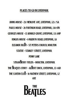Places to go in Liverpool, now if only I could get there.
