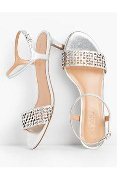 dce9c054ca2c Pila Perforated Kitten-Heel Sandals-Metallic Leather - Talbots