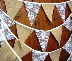 Traditionnel toile de jute & lacet bruant 5 mètres 29 drapeaux vintage rustique