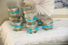 Megan made white glitter play dough as party favors for the guests.  Source: Genie Leigh Photography