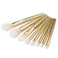 LUX - Gold Hex 8 Piece Makeup Brush Set