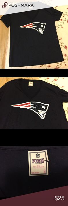 """Pink Victoria's Secret NFL Patriots T Shirt sz S Excellent clean condition.   Studded bead design. 100% cotton. Bust up to 40"""". Length from shoulder to bottom 27"""".  LOVE PINK on the back PINK Victoria's Secret Tops Tees - Short Sleeve"""