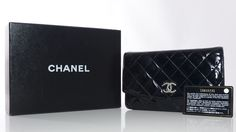 Authentic Chanel Black Quilted Patent Leather Evening Bag w/ Card & Box, Mint Condition. Chanel handbags sell quickly. New Arrivals daily. CashinMyBag.com Price:  $1450.00