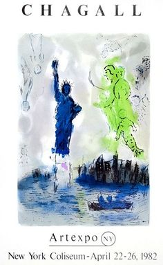 """""""Statue of Liberty"""" by Marc Chagall - 1982"""