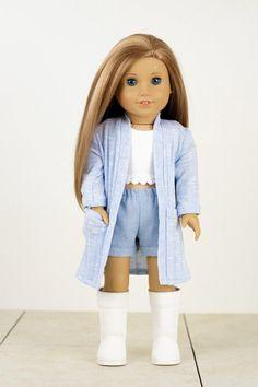 03acfd894615cf Trench Cardigan 18 inch doll clothes EliteDollWorld EDW baby blue