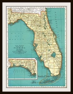 1939 Antique Map - FLORIDA & CONNECTICUT by KnickofTime on Etsy, $11.50