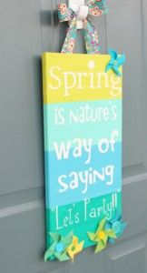 Using vinyl letters as a resist you paint bands of color on the canvas. Remove the letters and embellish!