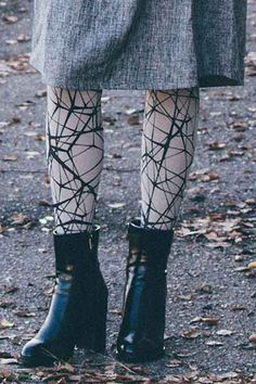 """Lost in Translation"" Patterned Tights Grey by @Magdelinskya  #trendylegs #tights @fashiontights #printedtights #tattootights #fblogger #fashionblogger"