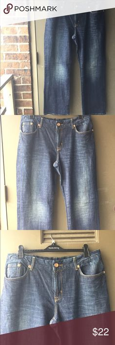 SEVEN PREMIUM DENIM JEANS EUC Clot faded look on the thighs and gold sequins on the back pockets. Bronze button at zipper closing the right leg has a worn tear look not bad looks intended Seven7 Jeans Straight Leg