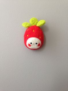 Red White and Green Strawberry Needle Felt by nadiaillustration