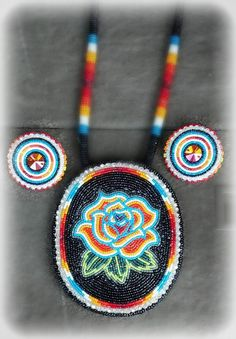 """Beaded medallion and earrings set, """"Designed by Shanna"""" on Facebook"""