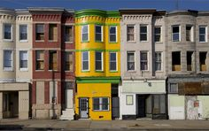 Row houses, Baltimore, Maryland, November 1, 2008. Photographer Carol M. Highsmith's America, Library of Congress Prints and Photographs Division.