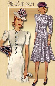 1930s Dress Pattern Vintage McCall 3201