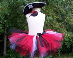 DIY Pirate TUTU KIT - Red, Black and White Pirate Princess Set with Hat, Eye Patch and Earring