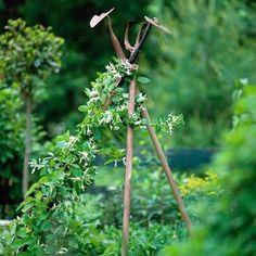 Repurposed rusty garden tools into garden trellis.