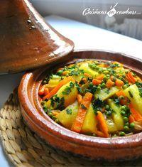 Tajine de carottes, petits pois et pommes de terre - Cuisinons En Couleurs