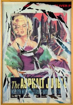 Mimmo Rotella, Marilyn Collage, Painting, Italy, 1990, Signed by Mimmo  Rotella