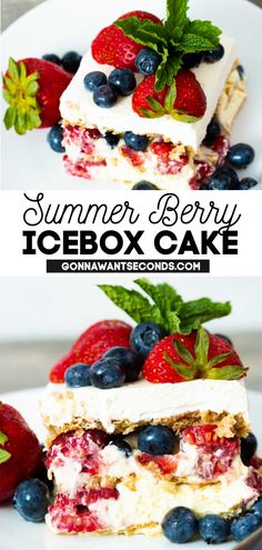 *NEW* Summer berry icebox cake is a cool creamy concoction of triple berry bliss and no-bake cake that comes together in the most delicious and refreshing way. #SummerDesserts #nobake #summer #berrycake #iceboxcake #berries #raspberries #strawberries #blueberries #easydesserts Mini Desserts, Summer Desserts, No Bake Desserts, Easy Desserts, Delicious Desserts, Yummy Food, Blue Desserts, Strawberry Desserts, Sweet Desserts