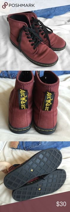 """Dr. Martens Cherry Red Shoreditch Canvas Boots Authentic Dr. Martens • Women's size 6, true to size (could fit a 6-6.5 best) • In excellent condition except for minor wear to the bottoms, mostly at the heel and toe. No major damage • Super comfortable to wear—they have the classic """"Airwair bouncing soles"""" • High top style tennis shoe/ankle boot, very slightly taller than Vans Sk8 Hi shoes • Classic yellow stitching Dr. Martens Shoes Ankle Boots & Booties"""