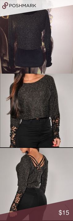 Black knit lace accent knit sweater Worn once, super cute sweater, true to size. Hot Miami Styles Sweaters Cardigans