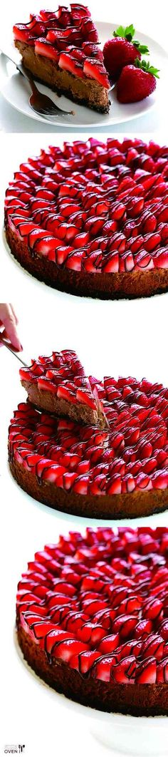This strawberry Nutella cheesecake recipe is made with a classic Oreo crust, a somewhat lighter Greek yogurt filling, and topped … Nutella Recipes, Cheesecake Recipes, Dessert Recipes, Nutella Cheesecake, Strawberry Cheesecake, Nutella Cake, Just Desserts, Delicious Desserts, Yummy Food
