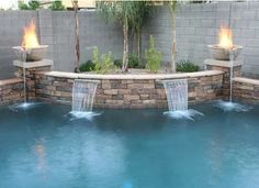 Pool Round Concrete Fire Bowls Fountain Jacuzzi Cool Pools Fogo