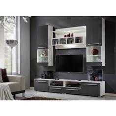 Ensemble TV mural design High gloss gris et blanc