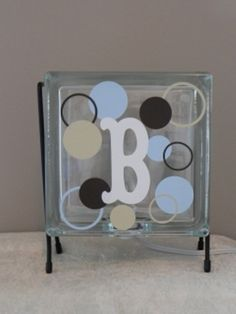 Glass block nightlight decorated with vinyl
